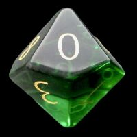 TDSO Zircon Glass Emerald with Engraved Numbers 16mm Precious Gem D10 Dice