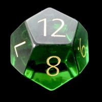 TDSO Zircon Glass Emerald with Engraved Numbers 16mm Precious Gem D12 Dice