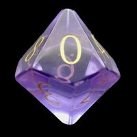 TDSO Zircon Glass Amethyst with Engraved Numbers 16mm Precious Gem D10 Dice