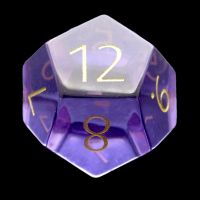 TDSO Zircon Glass Amethyst with Engraved Numbers 16mm Precious Gem D12 Dice