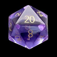 TDSO Zircon Glass Amethyst with Engraved Numbers 16mm Precious Gem D20 Dice