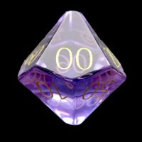 TDSO Zircon Glass Amethyst with Engraved Numbers 16mm Precious Gem Percentile Dice