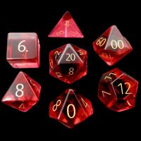 TDSO Zircon Glass Ruby with Engraved Numbers 16mm Precious Gem 7 Dice Polyset