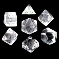 TDSO Zircon Glass Diamond with Engraved Numbers Precious Gem 7 Dice Polyset