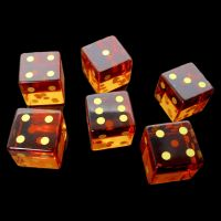 TDSO Zircon Glass Yellow Topaz with Engraved Numbers Precious Gem 6 x D6 Dice Set
