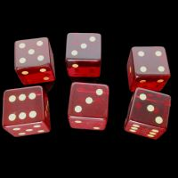 TDSO Zircon Glass Garnet with Engraved Numbers Precious Gem 6 x D6 Dice Set