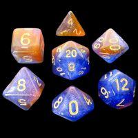 TDSO Multi Glitter Blue Orange & Purple 7 Dice Polyset
