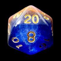 TDSO Multi Glitter Blue Orange & Purple D20 Dice