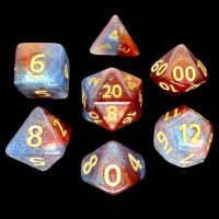 TDSO Multi Glitter Blue Red & Silver 7 Dice Polyset