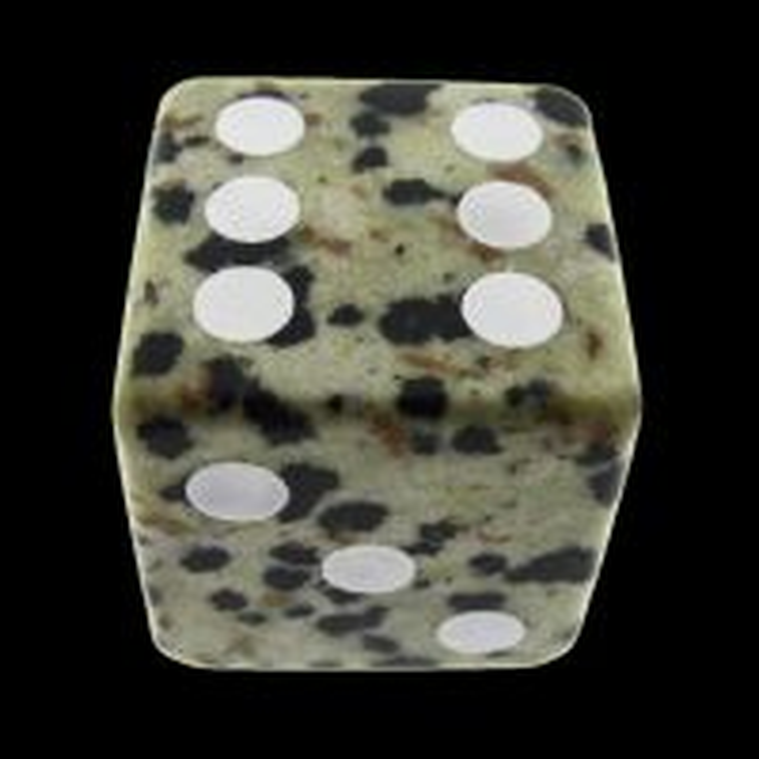 TDSO Jasper Dalmation 16mm Precious Gem D6 Spot Dice