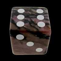 HALF PRICE CLEARANCE TDSO Rhodonite Black Lined 16mm Precious Gem D6 Spot Dice