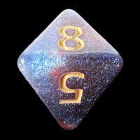 TDSO Multi Glitter Blue Red & Silver D8 Dice