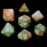 TDSO Multi Glitter Green Orange & Pink 7 Dice Polyset
