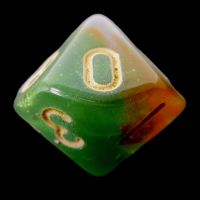 TDSO Multi Glitter Green Orange & Pink D10 Dice