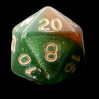 TDSO Multi Glitter Green Orange & Pink D20 Dice