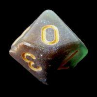 TDSO Multi Glitter Green Purple & Teal D10 Dice
