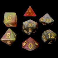TDSO Multi Glitter Gold Green & Pink 7 Dice Polyset