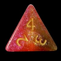 TDSO Multi Glitter Gold Green & Pink D4 Dice