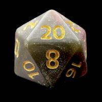 TDSO Multi Glitter Gold Green & Pink D20 Dice