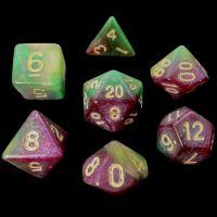 TDSO Multi Glitter Gold Green & Purple 7 Dice Polyset