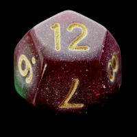 TDSO Multi Glitter Gold Green & Purple D12 Dice