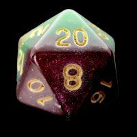 TDSO Multi Glitter Gold Green & Purple D20 Dice