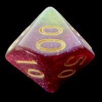 TDSO Multi Glitter Gold Green & Purple Percentile Dice