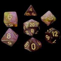TDSO Multi Glitter Black Gold & Purple 7 Dice Polyset