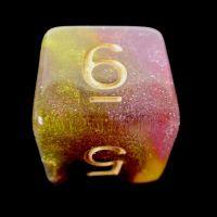TDSO Multi Glitter Black Gold & Purple D6 Dice