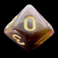 TDSO Multi Glitter Black Gold & Purple D10 Dice