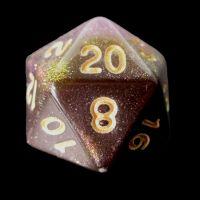 TDSO Multi Glitter Black Gold & Purple D20 Dice