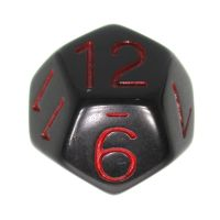 Role 4 Initiative Opaque Black & Red D12 Dice