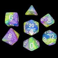 TDSO Quartet Blue Green Purple & Yellow 7 Dice Polyset