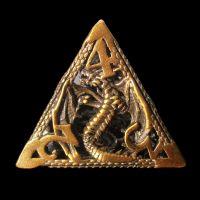 TDSO Metal Hollow Dragon Antique Gold D4 Dice