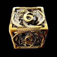 TDSO Metal Hollow Dragon Antique Gold D6 Dice