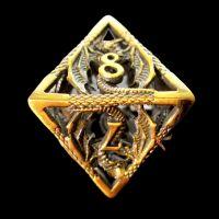 TDSO Metal Hollow Dragon Antique Gold D8 Dice