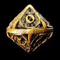 TDSO Metal Hollow Dragon Antique Gold D10 Dice