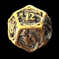 TDSO Metal Hollow Dragon Antique Gold D12 Dice