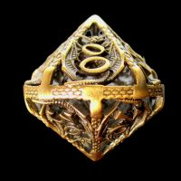 TDSO Metal Hollow Dragon Antique Gold Percentile Dice
