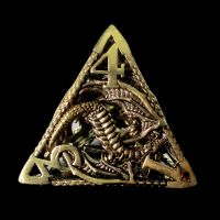 TDSO Metal Hollow Dragon Gold D4 Dice