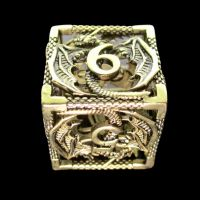 TDSO Metal Hollow Dragon Gold D6 Dice