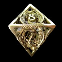 TDSO Metal Hollow Dragon Gold D8 Dice