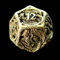 TDSO Metal Hollow Dragon Gold D12 Dice