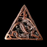 TDSO Metal Hollow Dragon Antique Copper D4 Dice
