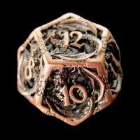 TDSO Metal Hollow Dragon Antique Copper D12 Dice