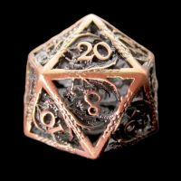 TDSO Metal Hollow Dragon Antique Copper D20 Dice