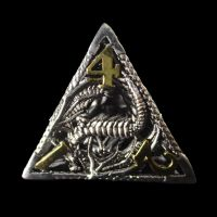 TDSO Metal Hollow Dragon Silver & Gold D4 Dice