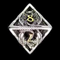 TDSO Metal Hollow Dragon Silver & Gold D8 Dice