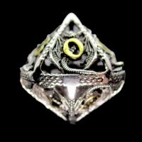 TDSO Metal Hollow Dragon Silver & Gold D10 Dice