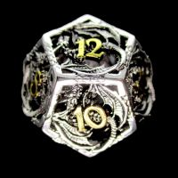 TDSO Metal Hollow Dragon Silver & Gold D12 Dice